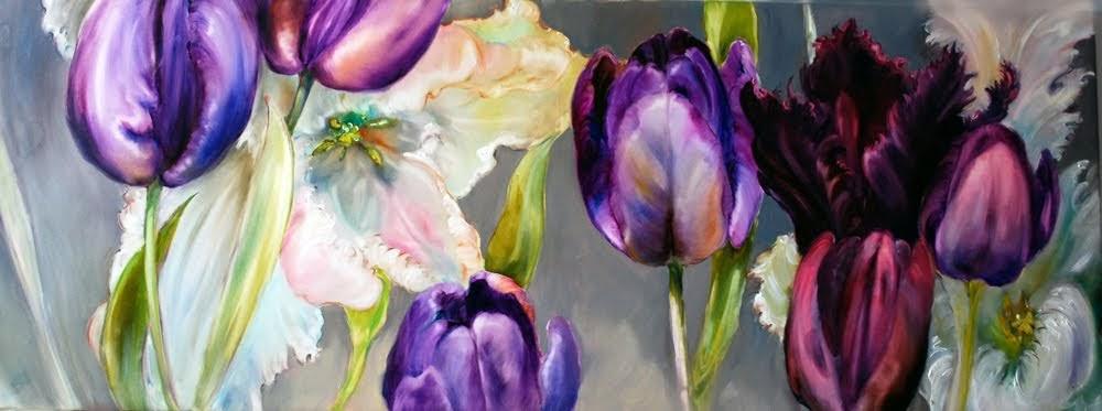 Tulipany_, 70 x 190 cm, olej na płótnie, 2017 (1)